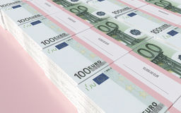 Packets of 100 Euro bills. 3D illustration - Packets of 100 Euro bills Royalty Free Stock Photo