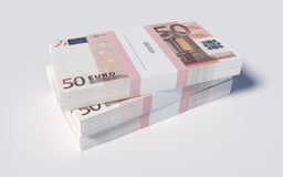 Packets of 50 Euro bills. 3D illustration - Packets of 50 Euro bills royalty free illustration