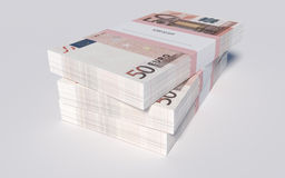 Packets of 50 Euro bills. 3D illustration - Packets of 50 Euro bills stock illustration