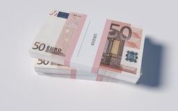 Packets of 50 Euro bills Royalty Free Stock Photos