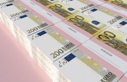 Packets of 200 Euro bills. 3D illustration - Packets of 200 Euro bills Stock Photography