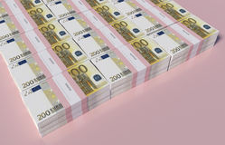 Packets of 200 Euro bills. 3D illustration - Packets of 200 Euro bills Royalty Free Stock Image