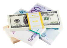 Packets of money from different countries Royalty Free Stock Photo