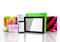 Packets next to the phone and tablet on glass flor 3d illustrati Royalty Free Stock Image