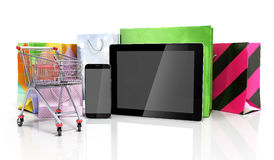 Packets next to the phone and tablet on glass flor 3d illustrati Royalty Free Stock Photography