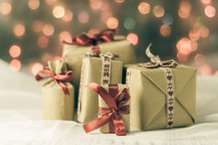 Packets presents Christmas background colored lights gift Stock Photography