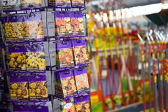Packets of seeds in gardening shop Royalty Free Stock Photography
