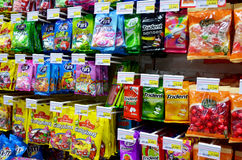 Packets of sweets. Packets of candy on display in a supermarket Royalty Free Stock Photos