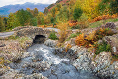 Packhorse Bridge. Ashness Bridge above the shores of Derwentwater near Keswick in the Lake District National Park in Cumbria Stock Photo