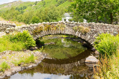 Packhorse bridge still water and refections Watendlath Tarn Lake District Cumbria England UK Stock Photography