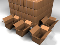Packing. Closed and opened boxes three dimensional model Royalty Free Stock Images