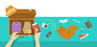 Packing bag for travel vacation flat illustration Stock Photos