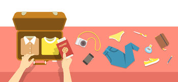 Packing bag for travel vacation flat illustration Stock Photo