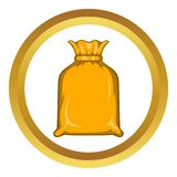 Packing bag vector icon. In golden circle, cartoon style isolated on white background Royalty Free Stock Photography