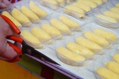 Packing the banana crisp Stock Images