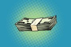 Packing of banknotes one hundred dollars. Pop art retro vector illustration Stock Image
