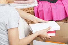 Packing books Royalty Free Stock Images