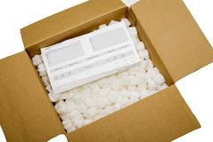 Packing Box with Order Slip Royalty Free Stock Image