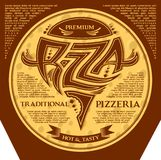 Packing box pizza with inscriptions and emblem. Packing box for pizza with inscriptions and emblem Royalty Free Stock Images
