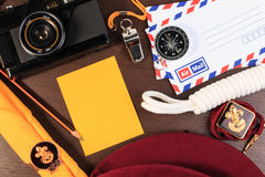 Packing checklists for scout camping trips, trip vacation, mock Stock Image