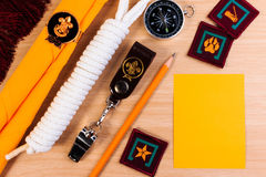 Packing checklists for scout camping trips, trip vacation. Stock Photo