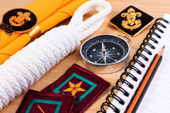 Packing checklists for scout camping trips, trip vacation, mock up close-up on wooden table. Stock Images