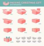 Packing of Christmas Gift. Stock Images