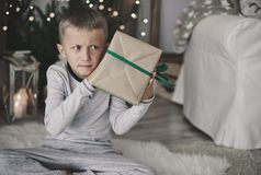 Packing Christmas gifts Royalty Free Stock Image