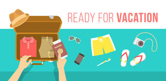 Packing clothes for summer vacation vector flat illustration Stock Images