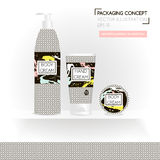 Packing concept in monochrome style. Three realistic cosmetic tube and jar on shelf with ready design. Stock Image