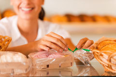 Packing cookies for sale. Stock Image