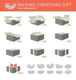 Packing of Cristmas Gift. Packing of Cristmas Gift Infographics Set. Vector illustration royalty free illustration