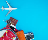 Packing Documents and gadgets for travel Stock Photos