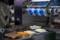 Food plastic packaging machine. Packing food sausage and meat ball in production line Royalty Free Stock Photography