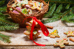 Packing gingerbread cookies for Christmas Stock Photo