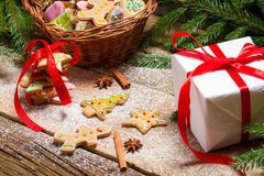 Packing gingerbread cookies for Christmas Stock Images