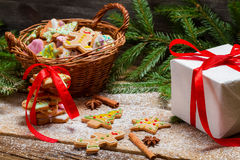 Packing gingerbread cookies for Christmas Stock Photos