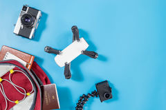 Packing Hi Tech travel gadgets for vacation Royalty Free Stock Images