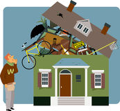 Packing a house. Confused man holding a small box, looking at a house overflown with his belongings, vector illustration Stock Images