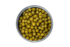 Packing juicy canned green peas isolated. On a white background Royalty Free Stock Images