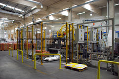 Packing line. Automated packaging process line with robot Stock Photography