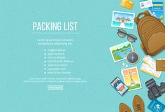 Packing List, Travel Planning. Preparing For Vacation, Travel, Journey, Trip. Baggage, Air Tickets Passport Wallet Guidebook. Royalty Free Stock Images