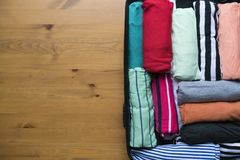 Packing a luggage for a new journey and travel for a long weeken. D, top view Stock Photos