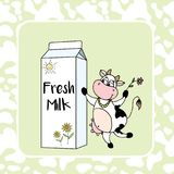 Packing milk with Smile and cute cow,Cow skin pattern on backgro. Und,stock vector illustration Royalty Free Illustration
