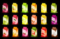 Packing milky products. Set of packing milky products with fruit Stock Photography