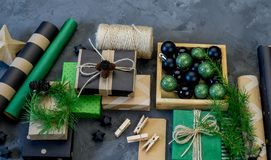 Packing new kraft paper New Year Christmas gift stock photography