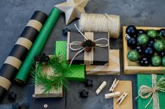 Packing new kraft paper New Year Christmas gift stock images