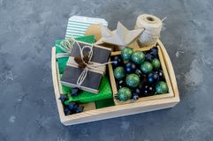 Packing new kraft paper New Year Christmas gift royalty free stock photo