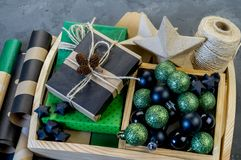 Packing new kraft paper New Year Christmas gift royalty free stock photos