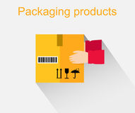 Packing Product Icon Design Style. Packing boxes, box delivery, package service, transportation parcel, deliver container, receive pack, send and logistic Royalty Free Stock Image